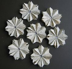 10 Paper Star Ornaments  Vintage Book Pages by ApplesModernArt, $30.00