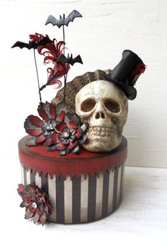 "Steampunk circus skull box: ""Something wicked this way comes"" scrolled on the bottom"
