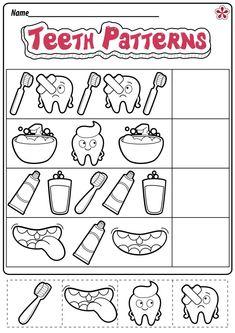 Kindergarten Addition Worksheets, Worksheets For Kids, Kindergarten Activities, Kindergarten Homework, Number Worksheets, Alphabet Worksheets, Preschool Learning, Dental Health Month, Health Activities