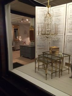 Store Preview: Gustavian Style Chrystal Chandelier of  wonderful proportions, very elegant French ca. 1950 Maison Bagues Gilt Bronze set of three nesting tables with original glass tops and mercury mirror edges, would work fantastic in a contemporary or classic interior