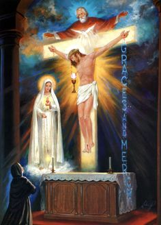 Divine Mercy Of Jesus A vision of St Faustina where she understood that God blessed the world for the sake of Jesus.I also see in this image the Trinity and to the left Our Lady of Fatima.