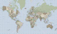 World Map Vintage - Tavlor på canvas - Photowall