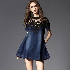 Vestidos Femininos 2017 Mesh Embroidery Lace Denim Dress Patchwork A-line Jeans Dress Women Short Sleeve Plus Size S-3XL D69805
