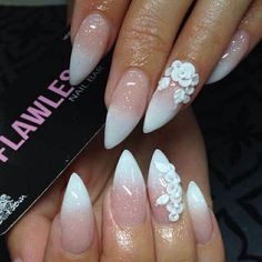 3D flowers. french ombre. stiletto