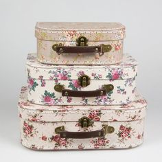Set of 3 Vintage Rose Floral Suitcases Sass & Belle Girls Bedroom Storage in Home, Furniture & DIY, Storage Solutions, Storage Boxes | eBay!