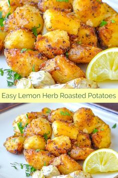 Lemon Herb Roasted Potatoes cut into small potato nuggets ensure crispy flavour in every bite. One of the most popular side dishes ever to be featured… - Site Potato Sides, Potato Side Dishes, Vegetable Side Dishes, Vegetable Recipes, Vegetarian Recipes, Cooking Recipes, Healthy Recipes, Side Dishes For Lamb, Greek Side Dishes