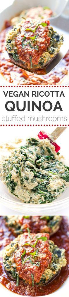 VEGAN RICOTTA + QUINOA STUFFED MUSHROOMS -- this takes the place of stuffed shells and taste better too!