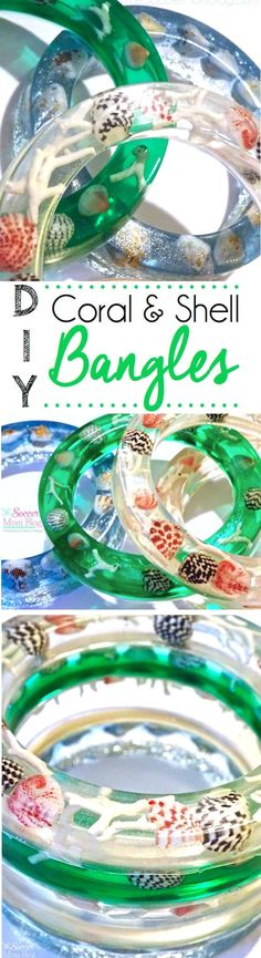 A gorgeous way to use shells from your beach vacation! Photo instructions to make your own unique and stunning DIY Coral and Shell Resin Bangles!