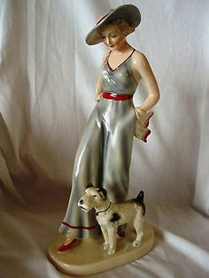 Goldscheider Art Deco Lady Walking Dog | eBay