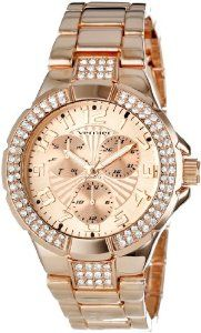 Only 39.52 amazon.com Vernier Women's VNR11145RG Crystal Bezel Slugs Faux-Chrono Bracelet Watch: Watches: Amazon.com