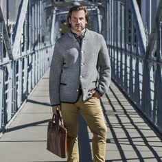 Clemens - Men's Austrian Boiled Wool Trachten Jacket in Gray Gray Sweater, Grey Cardigan, Wool Cardigan, Gray Jacket, Boiled Wool Fabric, Boiled Wool Jacket, Wool Coat, Winter Fashion, Menswear