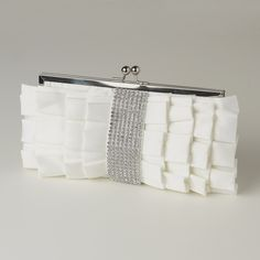 Chic Cream Satin Ruffle Evening Bag Purse with Rhinestone Trim - Affordable Elegance Bridal -
