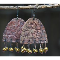 Handmade copper earrings, Copper jewelry, Dangle copper earrings,... ($481) ❤ liked on Polyvore featuring jewelry, earrings, sterling silver long earrings, sterling silver earrings, earring jewelry, metal jewelry and metal earrings
