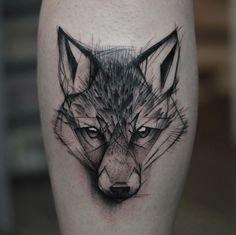 "Sketch Style FoxTattoo by Kamil Mokot | The site says ""wolf tattoo"", but I think it's a fox"