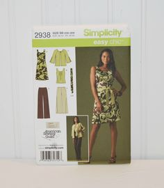2938 Misses' & Plus Size Sportswear Misses or Plus Size Dress, Top, Pants, Jacket and Tie Belt Plus Size Patterns, Simplicity Sewing Patterns, Clothing Patterns, Dress Patterns, Pattern Dress, Pattern Sewing, Top Pattern, Fabric Patterns, Sewing Clothes