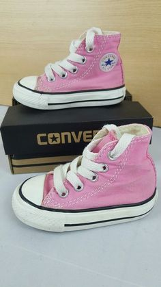 8ba5f6887de9 Converse All Star infant pink high tops shoes trainers canvass size 3