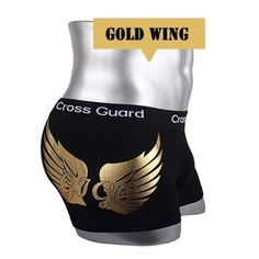 NEW-Young-Mens-Underwear-Boxer-Briefs-shorts-Cotton-Trunks-Gold-leaf-Wing-M-L