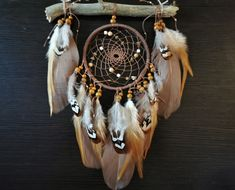 Dreamcatcer Native America Dream catcher Boho Wall hanging Indian style Boho dreamcatcher Indian style by Roadofthedream on Etsy Driftwood Mobile, Dream Catcher Native American, Boho Wall Hanging, Dream Catcher Boho, Native American Fashion, Cotton Rope, Wooden Beads, Make You Smile, Boho Fashion