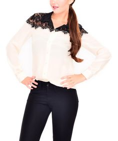 Look at this #zulilyfind! Black & White Lace Button-Up Top #zulilyfinds