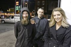 Mark D'Amico, center, was arrested Monday night on an outstanding warrant unrelated to the GoFundMe dispute with homeless veteran Johnny Bobbitt, left, police in New Jersey said. (The Philadelphia Inquirer . Homeless Veterans, Homeless Man, Go Fund Me, Bon Courage, Feel Good Stories, How To Raise Money, Shoe Collection, Raiders, Retro Vintage