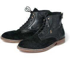 Men's Fleetham (Noir) Suede Lace Up Boot | H Shoes