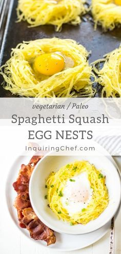 "Spaghetti Squash Egg Nests - Baked ""nests"" made with spaghetti squash and fi. - Spaghetti Squash Egg Nests – Baked ""nests"" made with spaghetti squash and filled with perfect - Healthy Diet Recipes, Vegetarian Recipes, Healthy Eating, Cooking Recipes, Healthy Protein, Veggie Egg Recipes, Cooking Eggs, Cooking Steak, Cooking Bacon"