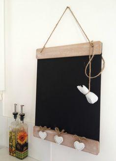 Memo legno Lavagna stile shabby Vintage lavagna cucina Message Board Tre Cuori Bianchi: Amazon.it: Casa e cucina