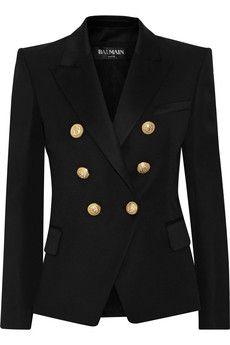 BALMAIN Double-breasted wool-twill blazer | NET-A-PORTER $2,329.15