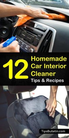 Cleaning Car Windows, Diy Car Cleaning, Cleaning Car Upholstery, Cleaning Recipes, House Cleaning Tips, Diy Cleaning Products, Car Interior Cleaning, Diy Interior Car Cleaner, Diy Leather Interior Cleaner