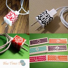 Personalized Chevron iPhone Plug Wrap iPhone Cord iPhone Charger Decal. $3.50, via Etsy. Super cute