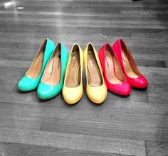 Best colors this season! seafoam green shoes, yellow shoes & coral shoes :) colors make me happy!