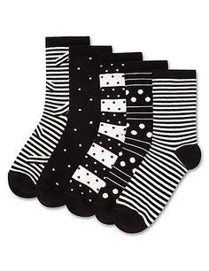 Buy the 5 Pair Pack Striped & Spotted Ankle High Socks from Marks and Spencer's range. Knee High Socks Outfit, Ankle High Socks, Thigh High Boots Heels, Ankle Highs, Heel Boots, Thigh Highs, High Heel, Polka Dot Socks, Cashmere Socks