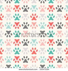 Animal seamless vector pattern of paw footprint. Endless texture can be used for printing onto fabric, web page background and paper or invitation. Polka dog style. Colorful.