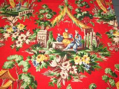 Fabulous Scenes of The Orient Chinoiserie Red Scenic Vtg Barkcloth Fabric Panel | eBay