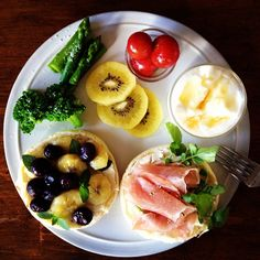 Today's breakfast. Sauteed banana Blueberry Mint Cream cheese, Uncured ham…