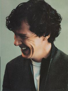Benedict Cumberbatch. My favorite part of him his smile/laugh. Best laugh line I've ever seen on a person. And yes. Laugh lines are a good thing.