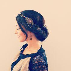 Headband rouge et bronze, arabesques et médaillon illustré femme asiatique - style rétro vintage. : Accessoires coiffure par mes-tites-lilis