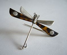 Tortoise shell and sterling silver Dragonfly Brooch by William Spratling.  Mexico, c. 1950.
