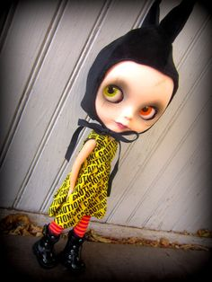 Yellow and Black CAUTION Tape Dress for Blythe por shepuppy en Etsy