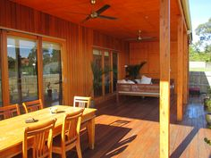 Combination of cedar shiplap and ply sheet, pattern layed to walls & ceiling over spotted gum deck