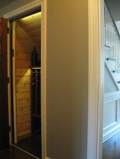Kessick - 'Estate Series' wine racks in a custom wine room under the stairs. Wine Rooms, Wine Cellars, Under Stairs, Bathroom Medicine Cabinet, Wine Rack, Tall Cabinet Storage, House, Furniture, Home Decor