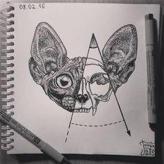 Немного эскизов. рисунок, тату, эскиз, графика, черно-белое, скетч, кот, череп, длиннопост