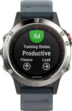 Garmin - fēnix® 5 GPS Heart Rate Monitor Watch - Silver with Granite Blue Band