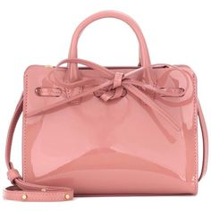 Mansur Gavriel Mini Mini Sun Patent Leather Tote ($430) ❤ liked on Polyvore featuring bags, handbags, tote bags, pink, patent leather tote, pink purse, mini tote bags, tote purses and handbags totes