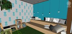 A sala de reuniões é informal e acolhedora, funciona muito bem também como sala de estar. O mesmo azul da parede foi utilizado para o stencil em formato de abacaxi. A arquibancada em compensado OSB pode ser usada tanto como sofá, quanto como palco. Os nichos podem ser customizados e reorganizados, servem como estantes ou banquinhos. O piso é um tapete de grama sintética.