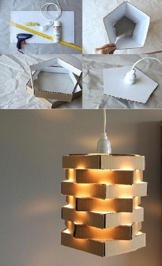 Easy lamp customisation with cardboard Diy Crafts Hacks, Diy Home Crafts, Lampe 3d, Recycled Lamp, Diy Floor Lamp, Diwali Diy, Handmade Lamps, Diy Flooring, Cardboard Crafts