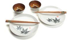 Maple Leaves on White Ceramic Japanese Sushi Tableware Set for 2 | Buy Online at EverythingChopsticks.com | Japanese, Chinese, Korean