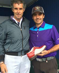 Felipe Aguilar allo stant Raimondi all'Open de france 2016  #raimondi #golfshoes #opendefrance #madeinitaly #handmadeinitaly #originali #golf