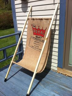 Burlap Sling Chair - recycled coffee bean sack
