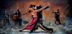 Serie Tangos (Tango #2 OLEO SOBRE LINO BELGA DE 140X70CMS)Dorian Flórez